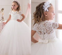 Wholesale Communion Dresses Lace Bodice - Tutu Ivory White Ball Gown Flower Girl Dresses Lace Bodice Jewel Short Sleeve Floor Length Flower Girls Dress Wedding Party Gowns For Kids