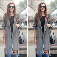 Wholesale Wholesale Outerwear Plus Size - Wholesale- Women Slim Thin Outerwear Casual Lapel Windbreaker Cape Coat European Style Linen Long Cardigan Jacket Plus Size