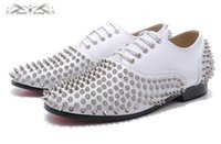 MBL995I Tamaño 36-46 Hombres Mujeres Cuero Blanco con punta redonda de plata Spikes Encaje Moda Oxfords, Gentleman Comfort Wedding Party Dress Shoes