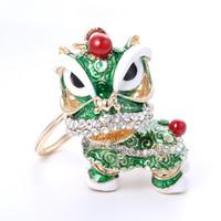 mascote dos leões venda por atacado-Frete Grátis Especial Chinês Folk Mascote Dança Do Leão Criativo Esmalte De Metal Chaveiros Presente Para As Mulheres Meninas Mascote Jóias ZA2943