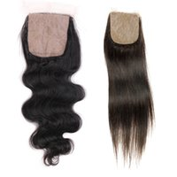 Wholesale Indian Curly Silk Base Closure - 4x4 Silk Base Lace Closure Straight Body Wave Deep Curly Indian Remy Human Hair Raw virgin Indian Hair
