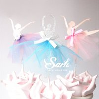 Wholesale ballet dance gifts - Wholesale- 8pcs lot Wedding Love Dancing Ballet Girl Series Insert Card with Plastic Stick Cake Decoration for Wedding Birthday Party Gift
