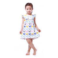 Wholesale Patterns Toddler Dresses - Baby Girls Dress Clothes Summer Chicken Pattern Baby Clothes Dress Toddler Outfit 5T Girls Party Dress