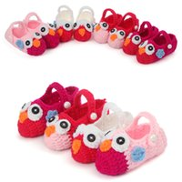 Wholesale Owl Crocheted Baby Shoes - AbaoDo brand new baby shoes owl design new born knitting wool first walkers top quality infants booties crochet handmade socks