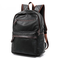 Wholesale Western Style Leather Bags - 2017 Hot Selling Oil Wax Leather Backpack For Men Western College Style Bags Men's Casual Backpack & Travel Bags Mochila Zip