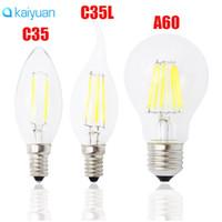 e14 edison led glühbirne großhandel-Klassische E27 E14 E12 Dimmbare LED-Glühlampe 4W 8w 12w 16w High Power Glaskugel Birne 110V 220V 240V Retro Edison-Lampe Kerze LED-Leuchten