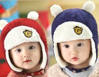 Wholesale Baby Helmets - 2016 Winter New Style Baby Hats Letter Fleece Thick Protect Ear Hats Helmet Caps 3-18M 1510222