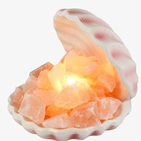 Wholesale Sea Shell Crystal - Sea Shell Himalayan Natural Crystal Salt Lamp with Bulb and Dimmer Control Air Purifying Therapy Salt Table Lamp Ionizer and Air Purifiers