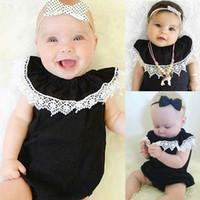 Wholesale Classic Bodysuit - INS Baby Lace Romper girls Classic black rompers Newborn beautifully detailed lace trim collar elastic Onesies Infant Bodysuit Kids Clothes