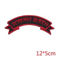 Wholesale zombie patches - Scream Queen zombie horror dead iron-on patch embroidered applique