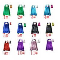 Wholesale Mixed Halloween Costumes - Double Side Cape with 2 different colors 70*70cm Capes for Kids Christmas Halloween Cosplay Prop Costumes mixed 11colours