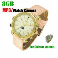 Wholesale Wrist Watches Mp3 Player - Woman Lady Girl Watch spy camera 16GB with MP3 player HD waterproof hidden pinhole camera mini audio video recorder Female Wrist watch DVR
