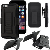 Wholesale Iphone Hard Case Holster Clip - Rugged Hybrid Hard Silicone Case Cover Belt Clip Kickstand Holster Armor Shockproof for iPhone 5S 6S 7 Plus Cases 100pcs lot Free DHL