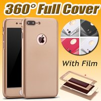 Wholesale Edge Protectors For Shipping - 360 Degree Coverage Case Hard PC Tempered Glass Screen Protector Cover For iPhone 7 Plus Samsung S8 Plus S7 Edge S6 Note 5 Free Shipping