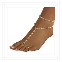 sandalias descalzas al por mayor-Moda de alta calidad de la joyería del pie de las mujeres de la playa de perlas de imitación sandalias descalzas joyería del pie tobillera cadenas regalo de la joyería de cristal envío gratis
