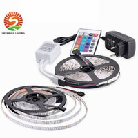 Wholesale Dc 12v 35w - New 5M set RGB LED Strips Waterproof IP65 2835 SMD DC12V 60leds m With 24Key IR Remote 2A Power Supply Christmas lights
