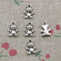 Wholesale Teddy Bear Necklace Pendants - 120pcs Charms lovely teddy bear 12*8mm Antique Silver Pendant Zinc Alloy Jewelry DIY Hand Made Bracelet Necklace Fitting