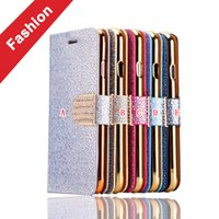 Wholesale Iphone Luxury Leather Chrome Case - Bling Chrome Glitter Wallet Leather Flip Pouch Case For Samsung Galaxy S8 S7 S6 Edge Iphone 7 I7 6 6S Plus Stand Cover Luxury Phone 50pcs