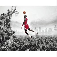 Wholesale Framed Fabric Print - Classic The free throw line Flying dunk Fabric silk canvas art wall Basketball Poster Print for great gift No frame free shipping