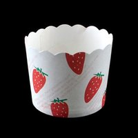 Wholesale Strawberry Cupcake Liners - Wholesale- high quality 50pcs bag Red Strawberry letters Cupcake paper muffin liner cases for Birthday wedding Party Baking paper cake cup