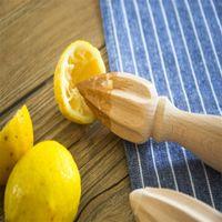 mini limon suyu toptan satış-Elle Ahşap Limon Sıkacağı Kayın Mini Sıkacağı Meyve Portakal Narenciye Suyu Sıkacağı Oyucu Cila Olmadan Balmumu Meyve Presleme Cihazı