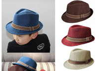 Wholesale boys black fedora for sale - Group buy Summer Unisex Kids Straw Fedora Sunhat Beach Fashion Panama Cap With Ribbow Trim Children Soild Trilby Hats For Boy And Girl