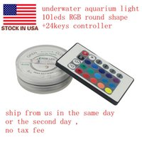 Wholesale US STOCK leds Multi Color Submersible Round Underwater Light RGB Fountain Lighting Keys Remote Controller
