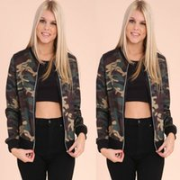 Wholesale Womens Bomber Jacket Xl - Autumn Winter Camouflage Bomber Fashion Womens Bomber Long Sleeve Jacket Baseball Ladies Pilots Outerwear Casual Harajuku Army Green Coat