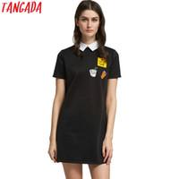 Wholesale Korean Night Fashion - Wholesale- Tangada Korean Dresses Women Clothing Mini Dresses Black Friday Shirt Dress Summer Short Sleeve Designer Vestidos Fashion Female