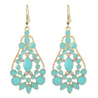 Wholesale 14k Gold Flower Earrings - Latest Design Fashion Earrings Jewelry Enamel Water Drop Rhinestone Gold Color Hollow Out Graceful Alloy Earrings for Women