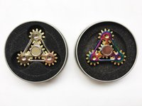 Wholesale new three wheels resale online - New arrival Fidget Spinners EDC metal rainbow Hand Spinner Toy Gear Chain Finger toys Stress three Gear Wheels finger Decompression Toy