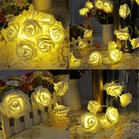 Wholesale Flowers Batteries Lights - Wholesale- 2M 20 LED Battery Operated Rose Flower String Lights Wedding Valentine Fairy Lamp Outdoor Garland Christmas Party Decoration
