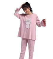koreanische damen passt großhandel-2017 herbst und winter neue damen baumwolle pyjamas passen koreanische beiläufige langärmelige hosen zu hause service