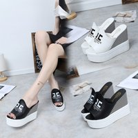 Wholesale Summer Fashion Slippers Sandals Platform - New Summer Wedges Platform Sandals Flip Flops Women Shoes High Heels Beach Slippers Ladies Open Toe High Heel Platform Sandal