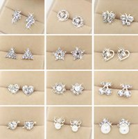 Wholesale Offering Plates - Special offer Top Quality Random Styles 925 Sterling Silver Rhinestones Stud Earrings Fashion Jewelry For Women Wedding Pearl Earrings Gift