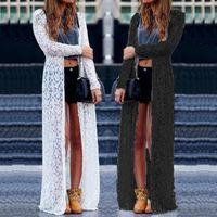 Wholesale Sale Lace Cardigan - Plus US Size 4-22 Blusas 2017 Fashion Women Lace Crochet Long Sleeve Blouses Beach Open Kimono Cardigan Long Tops Hot Sale