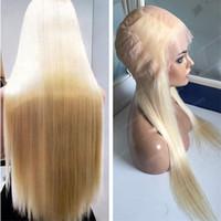 sarışın brezilya saç satışı toptan satış-Sıcak Satış Sarışın Bakire Saç Peruk 613 Ipek Düz Brezilyalı Ipek Üst Tam Dantel Peruk Ücretsiz Kargo
