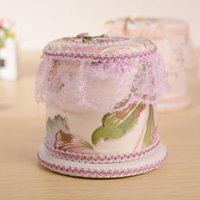 Wholesale Paper Lace Roll - Wholesale- Fashion Roll Car Tissue Box Seat Lace Tissue Case Box Round Paper holder Towel home Decor papier canister Toilet Napkin tecidos
