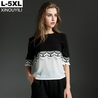Wholesale Patchwork Half Sleeve Chiffon Top - Black big size chiffon blouse Summer lace patchwork O-neck half sleeve loose shirts L XL XXL XXXL 4XL 5XL Plus size women tops