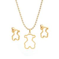 Wholesale Titanium Earrings Sets - Fashion simple smooth titanium Bear Necklace Set Earrings Pierced jewelry manufacturers wholesale