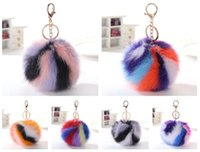 Wholesale Cross Stitch Holder - New arrival Four - color stitching burst hair ball key holder artificial fur bag hair ball pendant KR369 Keychains mix order 20 pieces a lot