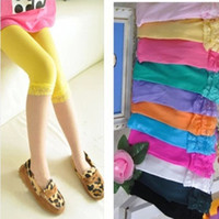 Wholesale Summer Leggings Children Velvet - kids baby girls velvet candy color leggings summer girls lace leggings children Cropped Pants free shipping in stock