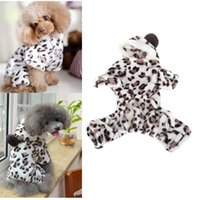 Wholesale Dog Print Clothes - Dog Accessories Warm Pet Dog Clothes for Winter Products for Animal Apparel Hoodie Hooded Leopard Print Dog Coat