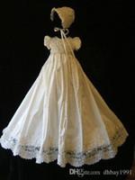vestido de encaje bebé 12 meses al por mayor-Blanco marfil del bebé del vestido del bautismo del bautizo del cordón del vestido de raso rebordear con el capo 0 3 6 9 12 15 24 Meses