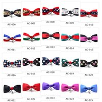 Wholesale Assorted Tie Wedding - 100pcs in 1 lot Assorted Colors Mixed Order Free Shipping Cat Bow Tie with Bell