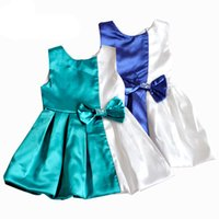 Wholesale chinese dresses for kids - Girl's dresses for baby kids with bow sleeveless o neck hot sale one-piece blue and white color dress