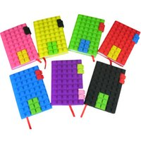 Wholesale Note Book Diary - Unique Creative Building Blocks Note Book A6 Size Colorful Notebook Silicone Building Block Diary Vintage Composition Book AA