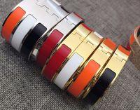 Wholesale Couple Wristband Bracelets - Fine 12mm titanium steel Enamel jewelry Fashion lady bracelet wristband H bracelet gold bracelet sliver bangle for woman couple gift