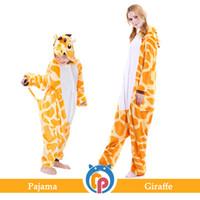 giraffen-pyjamas erwachsene großhandel-Flanell Tier Cartoon Pyjamas Onesie Cosplay plus Größe Giraffe Pyjamas Onesie für Erwachsene und Kinder