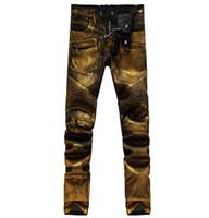 bp nakliye toptan satış-NWT BP erkek Moda Pist Parlak Altın Kaplı Yağlı Streç Ince Siyah Biker Yıkanmış Kot Boyutu 28-38 ücretsiz kargo